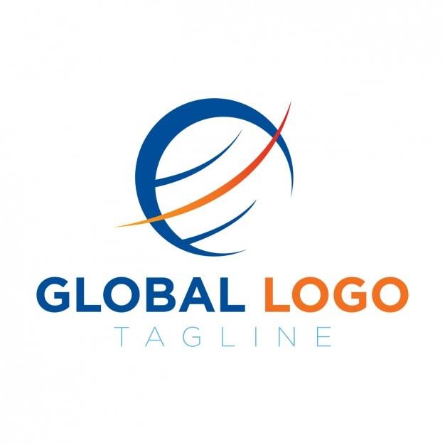 Logo globale blu e arancio Vettore gratuito