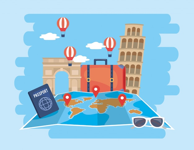 Global map location with air balloons and passport Premium Vector