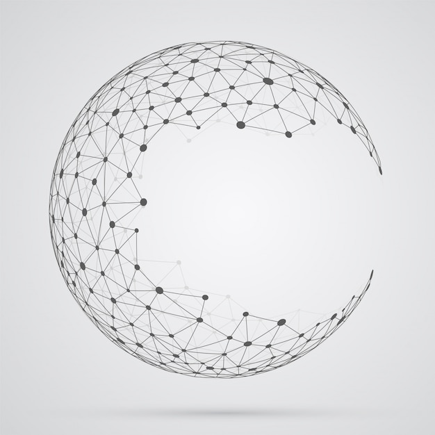 Global mesh sphere, abstract geometric shape with spherical seve Premium Vector