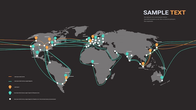 Global network cable connections and information transfer system world map technology Premium Vector
