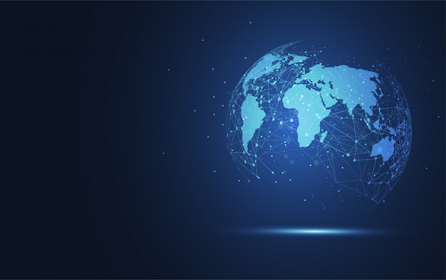 Global network connection background Premium Vector