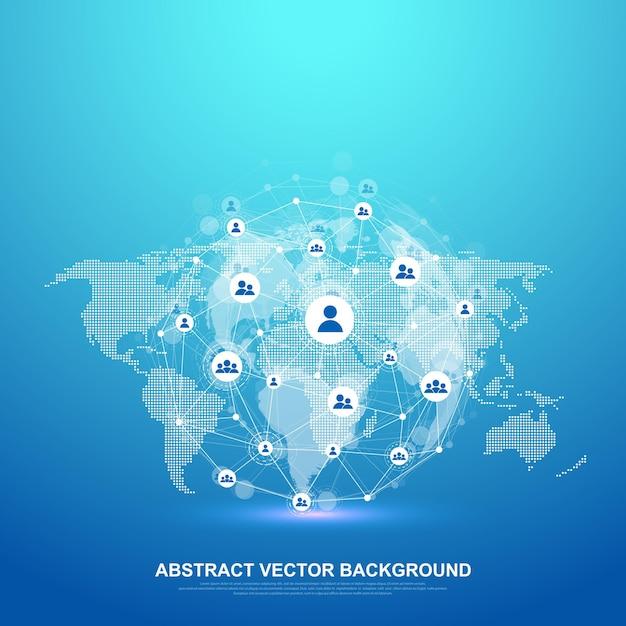 글로벌 네트워크 연결 개념. 빅 데이터 시각화. 글로벌 컴퓨터 네트워크의 소셜 네트워크 통신. 인터넷 기술. 사업. 과학. 벡터 일러스트 레이 션. 프리미엄 벡터