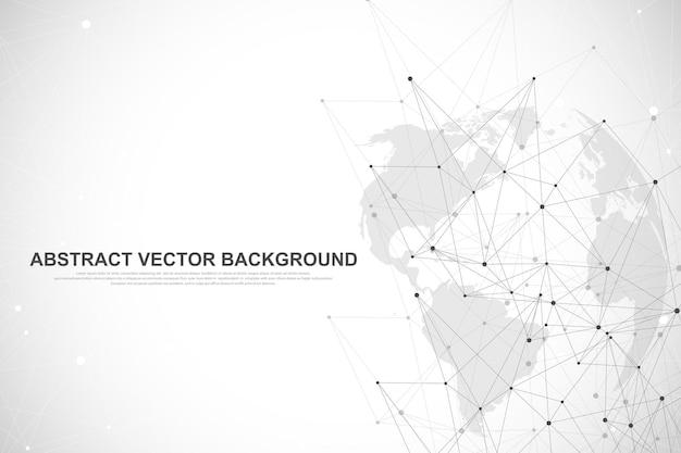 グローバルネットワーク接続の概念。ビッグデータの視覚化。 Premiumベクター