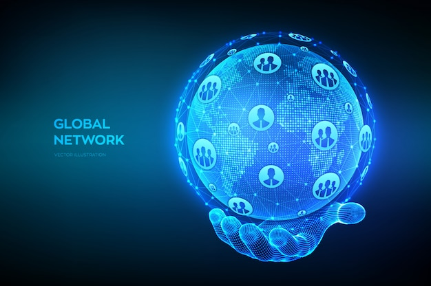 Global network connection concept. world map point and line composition. earth globe in wireframe hand. Premium Vector