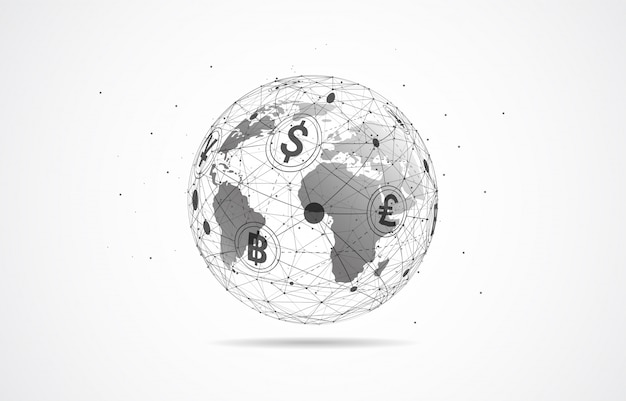 Global network connection. currency coin. money transfer Premium Vector
