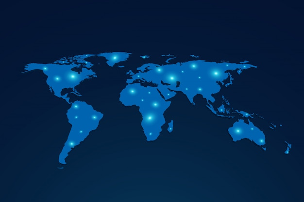 Global network connection people. social network concept. business. internet.3d world map Premium Vector