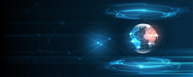 Global network connection world map abstract technology background Premium Vector