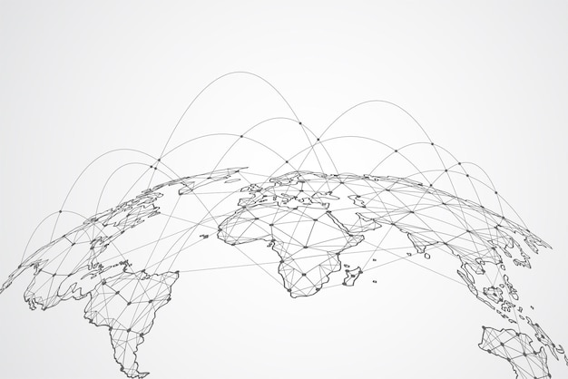 Global network connection. world map point and line composition concept of global business. vector i