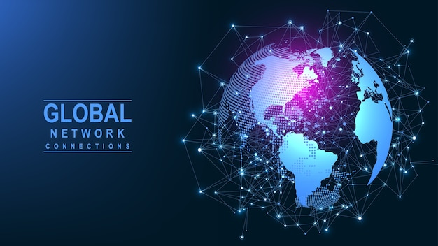 Global network connection. world map point and line composition concept of global business. Premium Vector
