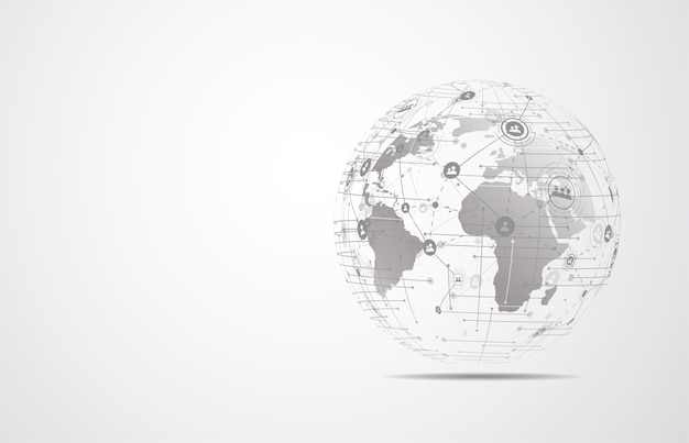 Global network connection. world map point and line composition