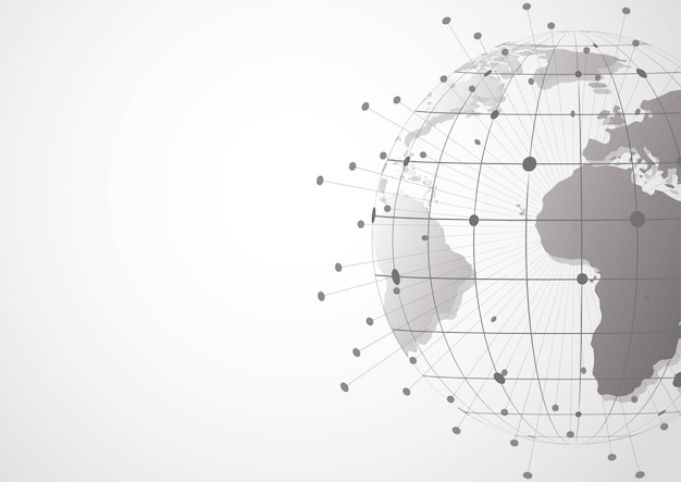 Global network connection. world map point Premium Vector