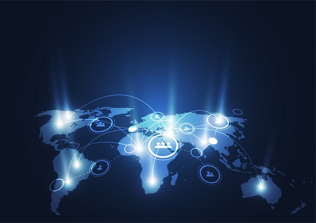Global network connection Premium Vector