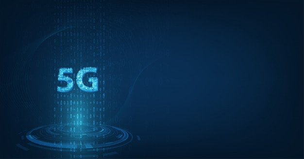Global network high speed innovation connection data rate, creative glowing 5g on dark blue color background Premium Vector