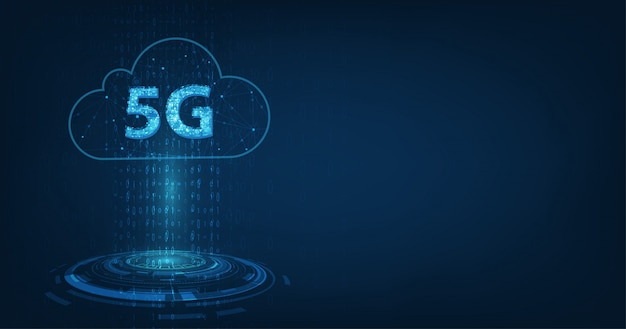 Global network high speed innovation connection data rate, creative glowing 5g on dark blue Premium Vector