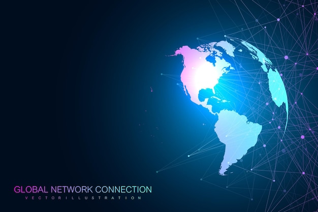 Global network with world map illustration Premium Vector