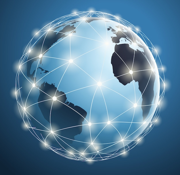 Global networks, digital connections around world map with luminous dots and lines. Premium Vector
