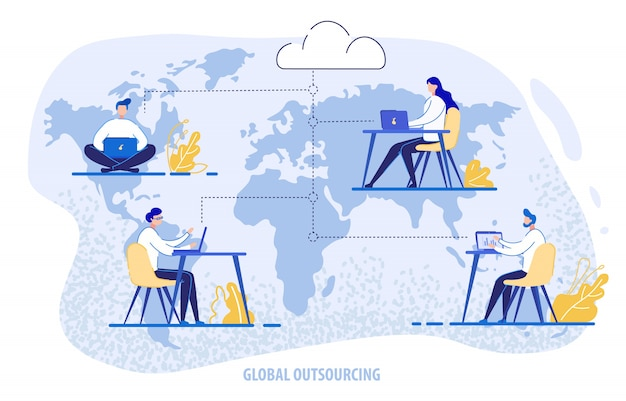 Global outsourcing, people using cloud system Premium Vector
