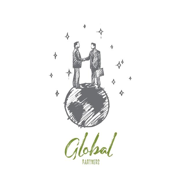 グローバルパートナーのコンセプト。地球の孤立したイラストに立って握手する手描きビジネスマン。 Premiumベクター
