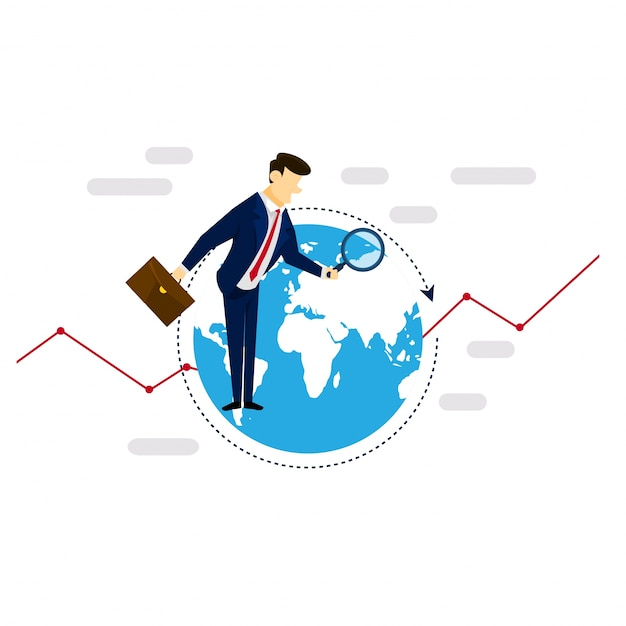Global research businessman strategy illustration concept Free Vector