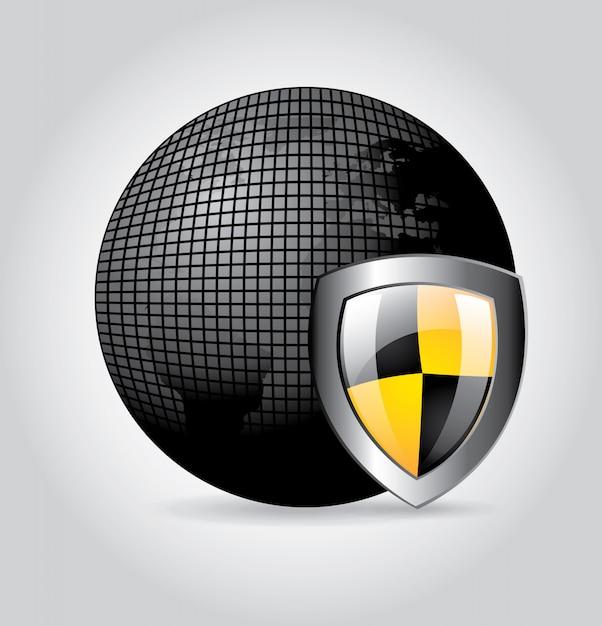 Global shield Premium Vector