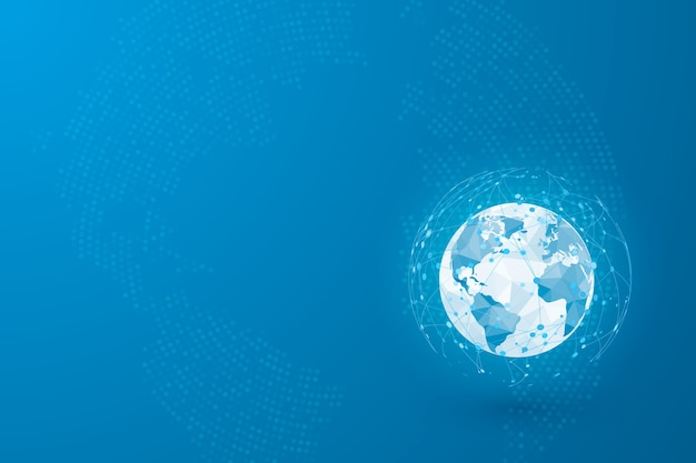 Global social network connection. user avatars connected to the worldwide network. Premium Vector