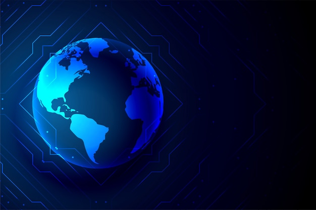 Global technology earth banner digital background Free Vector