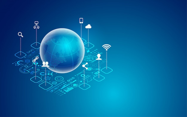 Global technology Premium Vector
