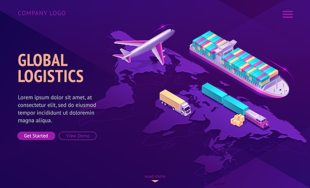 Global transport logistics, delivery company. Free Vector