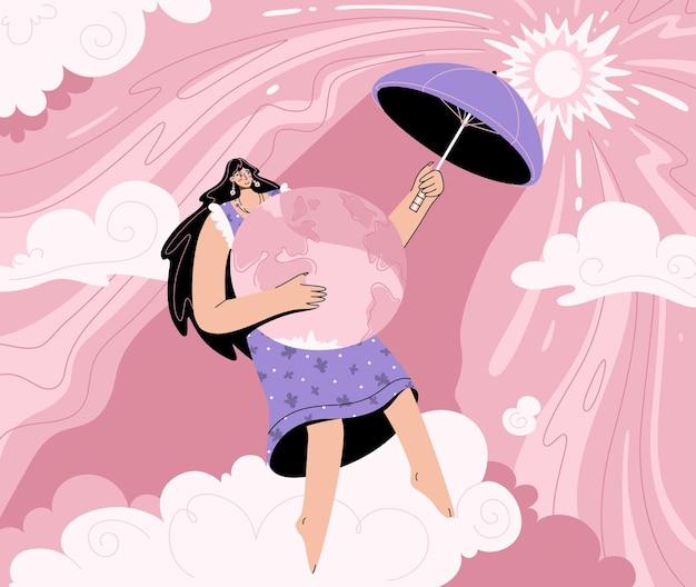 地球温暖化と気候変動の概念。燃える太陽から傘で惑星を覆う環境にやさしい女性。 Premiumベクター