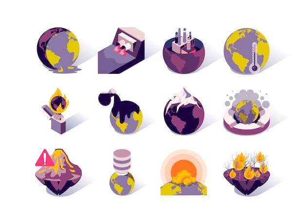 地球温暖化と汚染等尺性のアイコンを設定します。 Premiumベクター