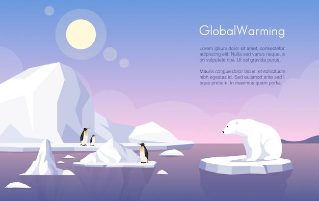 地球温暖化バナーテンプレート。北極、融解氷河、ペンギン、ホッキョクグマの流氷フラットイラストテキストスペース。気候変動、海面上昇、自然破壊。 Premiumベクター