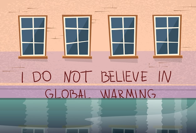 Global warming concept house under water window flood Premium Vector