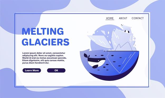 地球温暖化の概念。ステッカーまたはロゴ。ゼロウェイスト。気候変動。地球。溶ける氷河 Premiumベクター