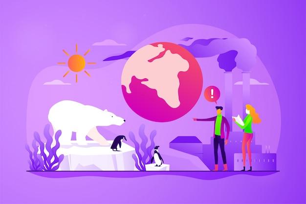 地球温暖化の概念ベクトルイラスト。 Premiumベクター