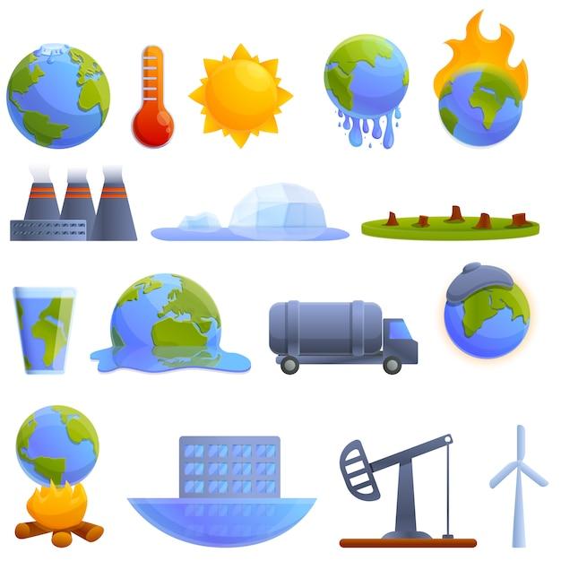 地球温暖化のアイコンを設定します。地球温暖化ベクトルアイコンの漫画セット Premiumベクター