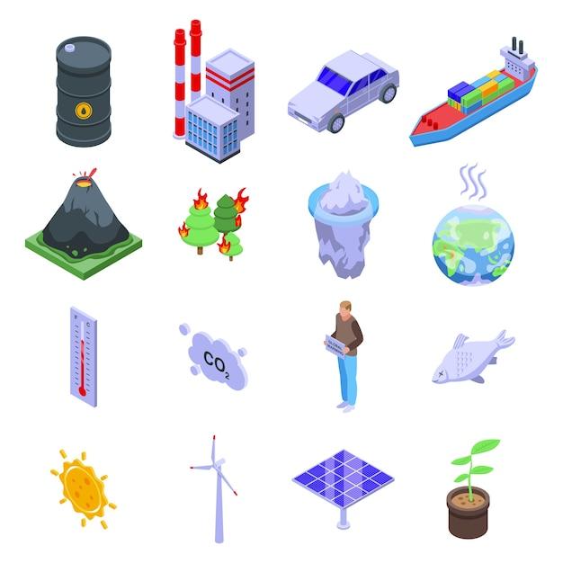 Global warming icons set. Premium Vector