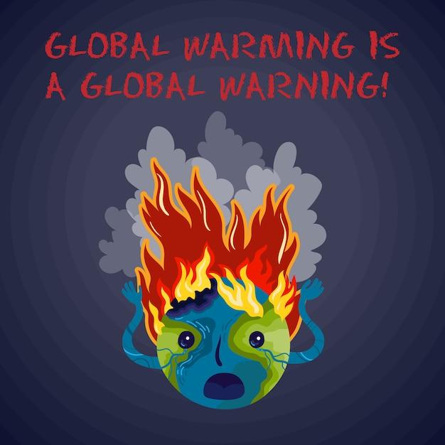 地球温暖化は地球規模の警告です。生態学的なベクトルのポスター。 Premiumベクター