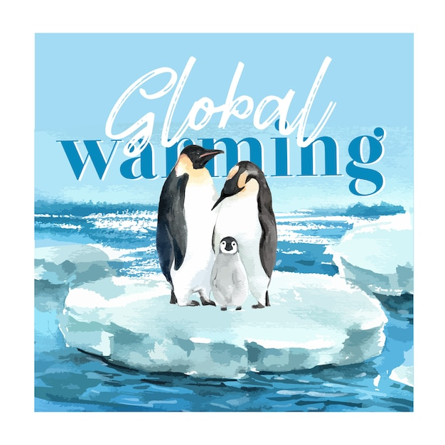 Global warming and pollution. poster flyer brochure advertising campaign, save the world template Free Vector