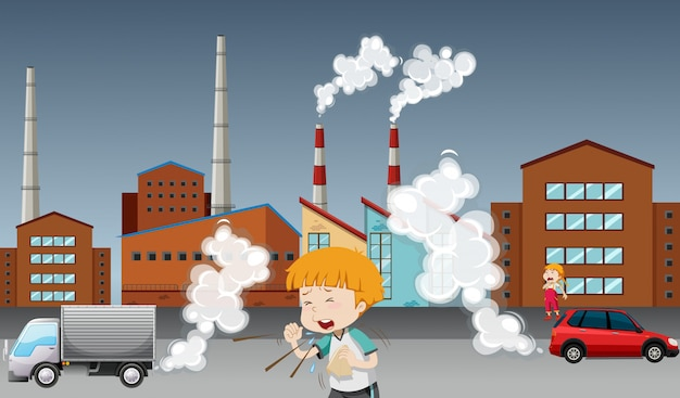 Global warming poster with kid and factory Free Vector