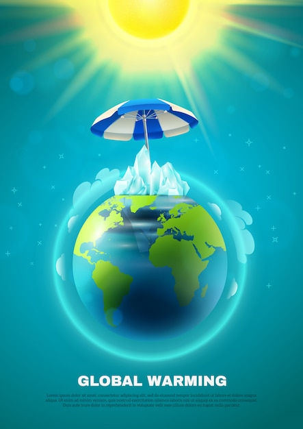 Global warming poster Free Vector