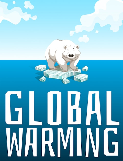 Global warming theme with polar bear Free Vector
