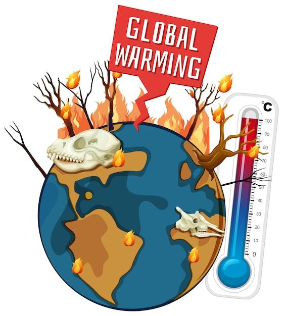 Riscaldamento globale con deforestazione sulla terra Vettore gratuito