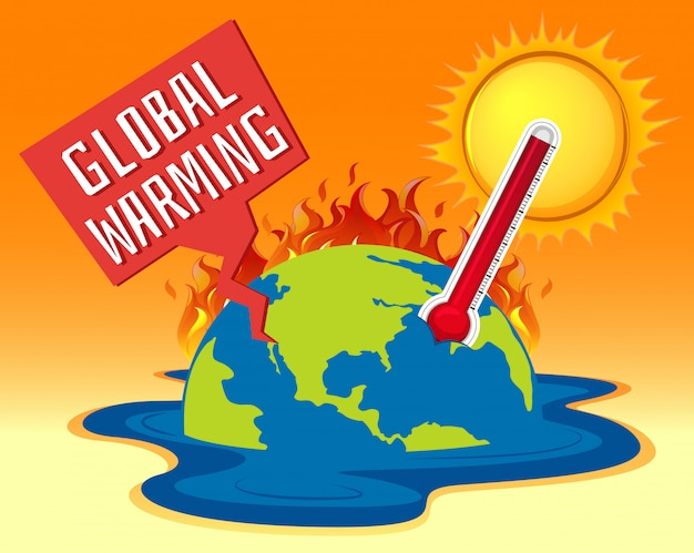 Global warming with earth on fire Free Vector