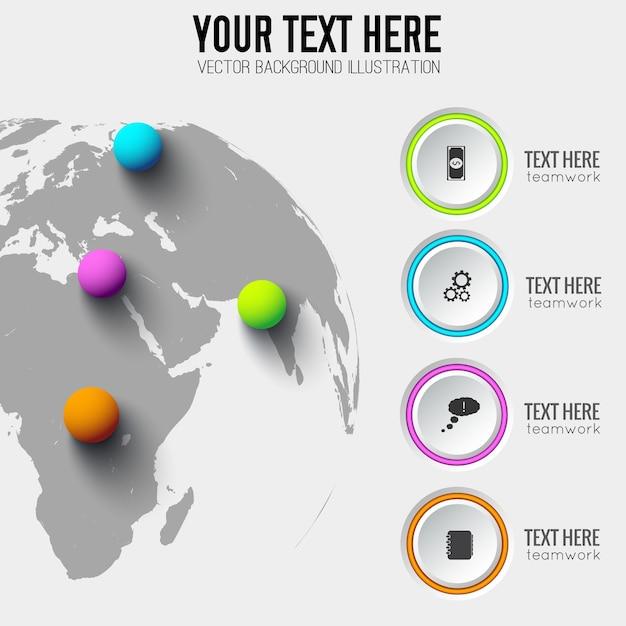 Глобальный веб-инфографический шаблон с серыми кругами бизнес-значками и красочными шарами на карте мира Бесплатные векторы