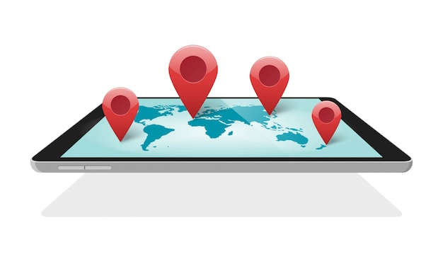 Global world map digital technology with pin pointer markers for travel or worldwide mobile logistics   3d illustration Premium Vector