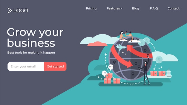 Globalization flat tiny persons vector illustration landing page template design Premium Vector