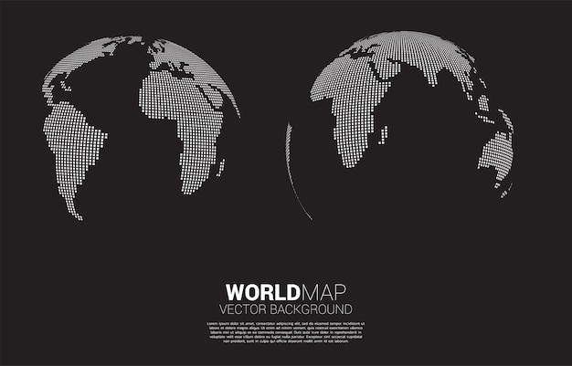 Globe 3d world map from square pixel . Premium Vector