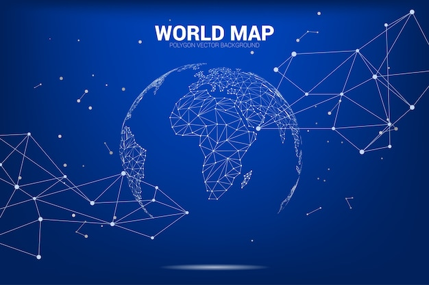 Globe 3d World Map Wireframe Dot Connect Line Polygon Vector