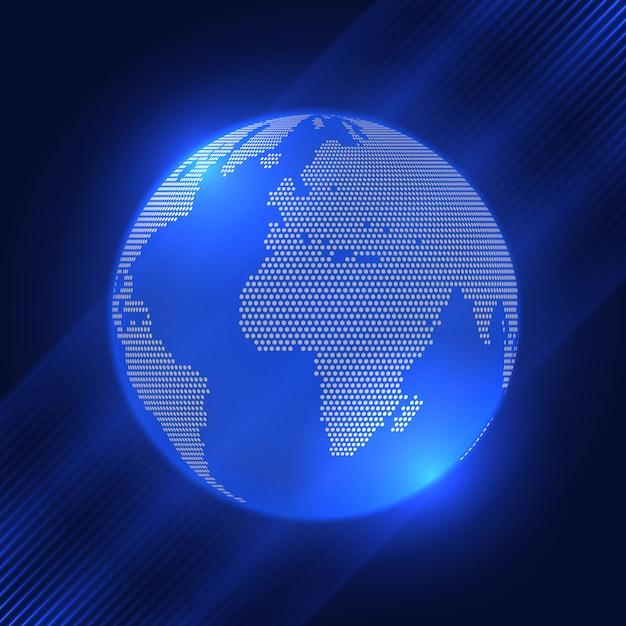 ハーフトーンドットデザインの地球の背景 無料ベクター