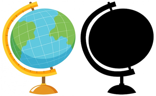 Globe in colour and silhouette Free Vector